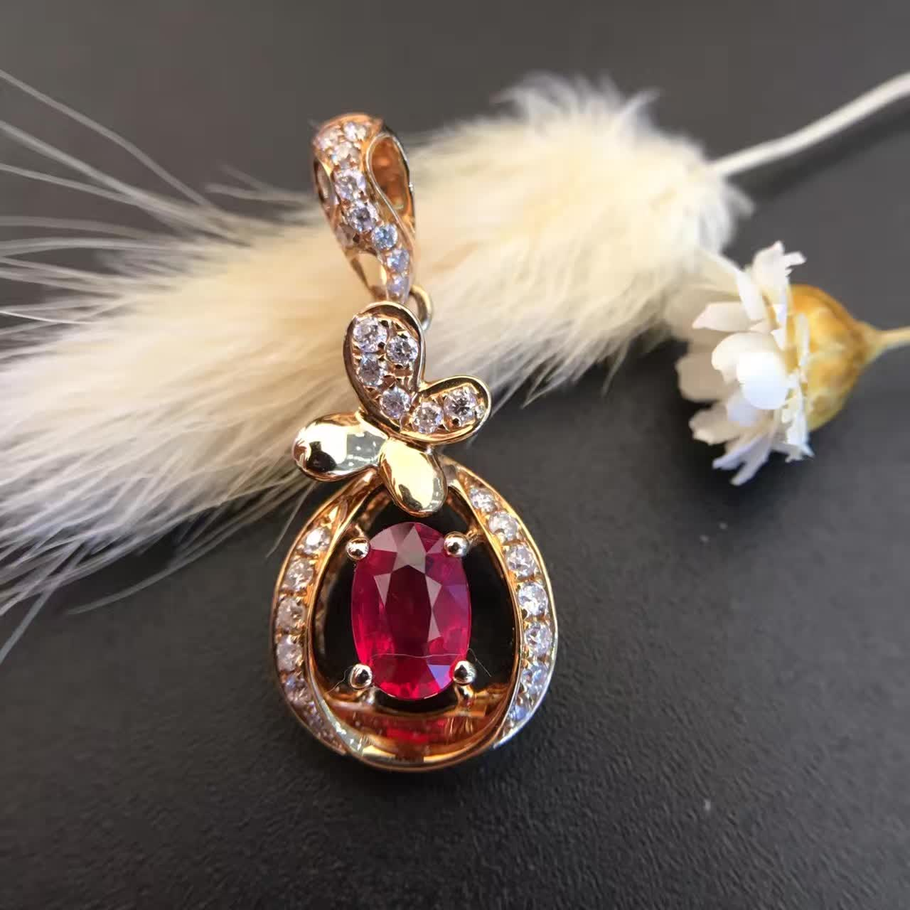 18K Gold 0 560ct Natural Ruby and Pendant font b Necklace b font 0 183ct font