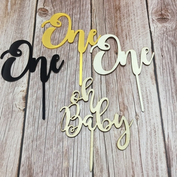Wood Acrylic One Oh Baby Cake Topper Wooden Cake Topper One For Party