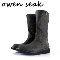 Owen Seak Men Boots Knee High Luxury Trainers Cow Suede Leather Plush Snow Boots Casual Winter Zip Flats Sneakers Man Shoes