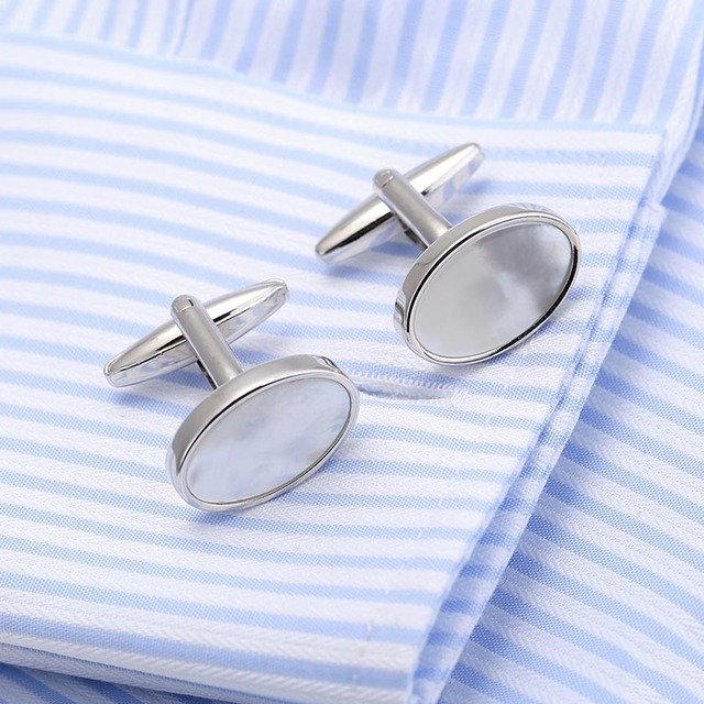 Vagula Jewelry Necktie Tie Bar Cufflinks Clip High Mother Pearl Cuff Links Pin Gemelos Ship 17