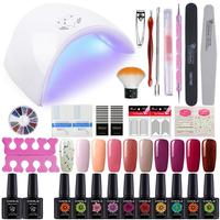 COSCELIA 36W UV LED Lamp 10Pcs Glass Bottle Set For Nail Art Tools Manicure Kit Nail Polish Set Fashionable Color UV Gel Polis