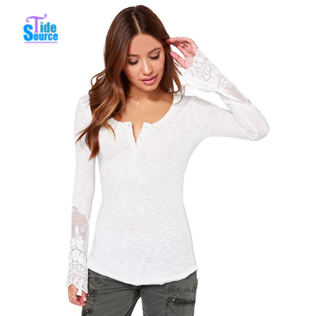 TideSource 2017 Elegant Slim Lace Patchwork Basic T Shirt Women Tops Flare Sleeve All-match Casual Thin Knitting T-shirts Blusas