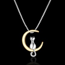 Fashion Pendant Necklace with Cat on Moon
