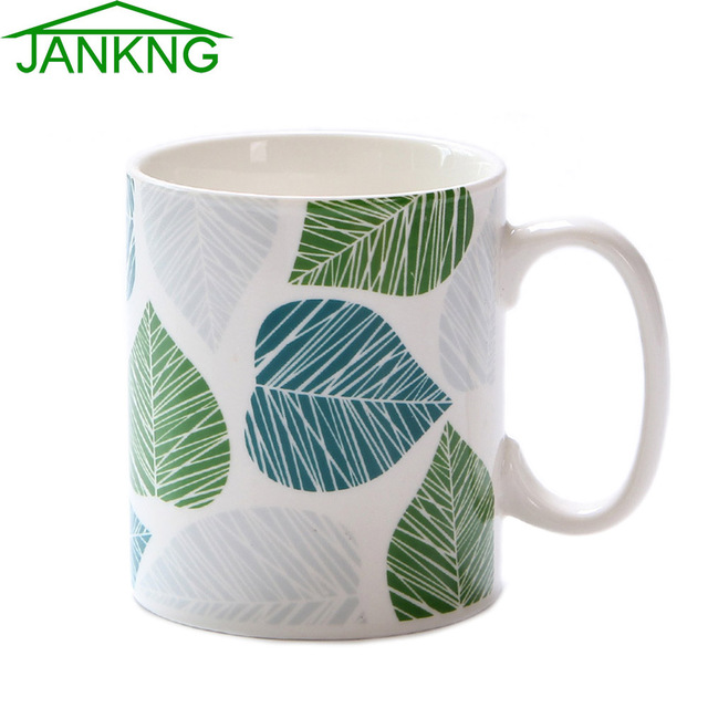 Jankng 400ml Ceramic Coffee Mugs Cup Leafs Painted Green Red Leaves Travel Milk Tea