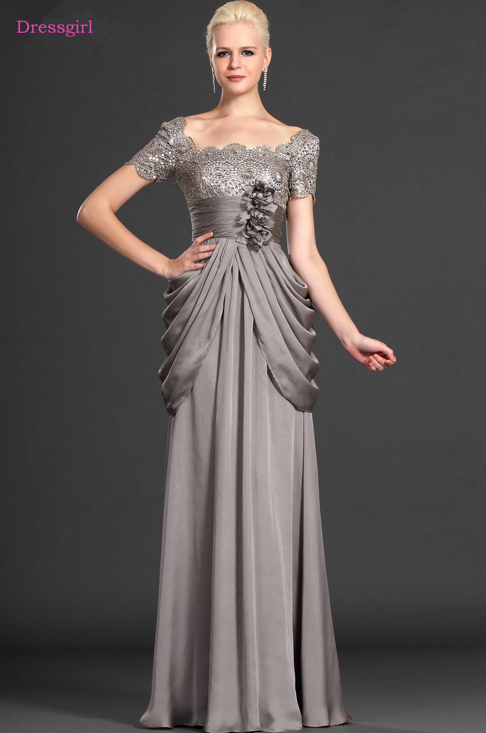 Gary 2019 Mother Of The Bride Dresses A-line Cap Sleeves Chiffon Lace Flowers Long Elegant Groom Mother Dresses Wedding