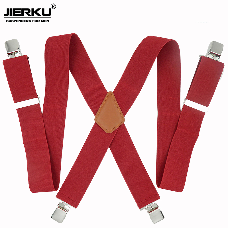 JIERKU Suspenders Man's Braces 4 Clips Suspensorio Trousers Strap Adjustable  Father/Husband's Gift 5.0*120cm JK4C01
