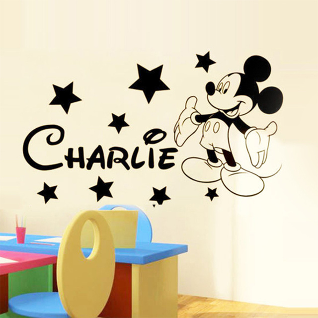 Wall stickers for kids rooms custom name removable vinyl wall sticker home decor preschool cartoon wall