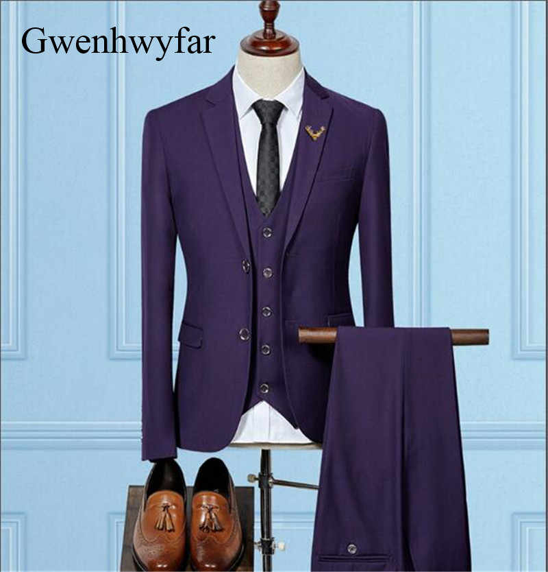 Gwenhwyfarノッチラペル新郎タキシードブラック/ネイビーブルー/グレー/パープル/ライトグレー男性スーツ結婚式最高男タキシード(ジャケット+パンツ+ベスト)