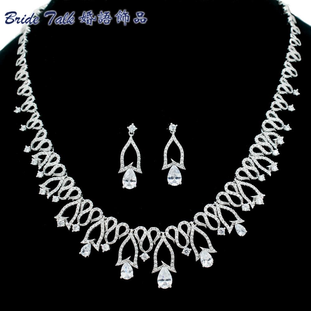 Full AAA Cubic Zirconia Necklace Earring Set Women Jewelry Set Bridal Wedding Accessories NE15006