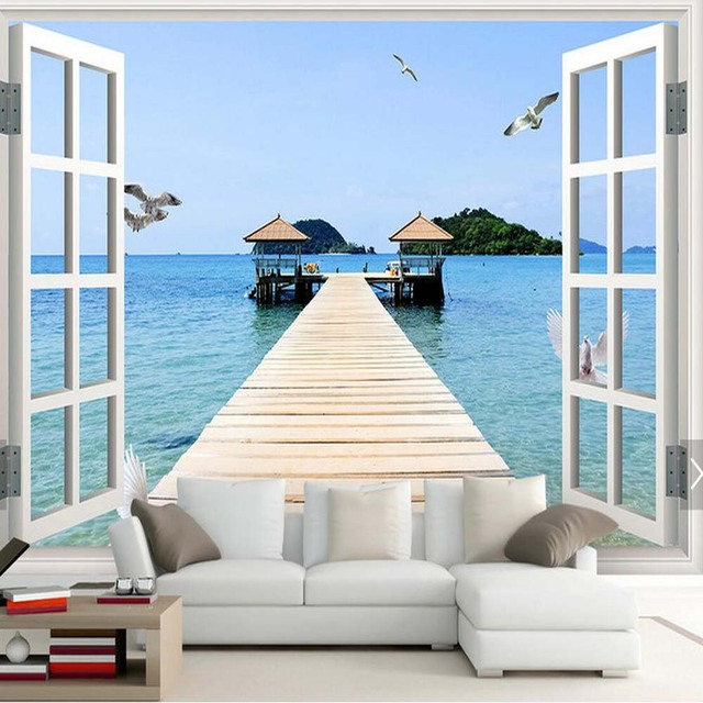 fen tre mer plage mew photo murale papier peint pour salon papel murale 3d chambre fonds d 39 cran. Black Bedroom Furniture Sets. Home Design Ideas