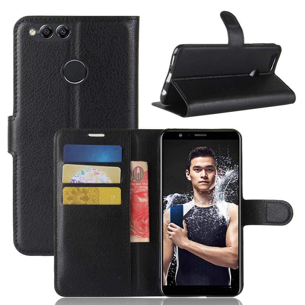 Galleria fotografica Book Style PU Leather Case Cover for Huawei <font><b>Honor</b></font> <font><b>7X</b></font> BND-L21 Flip Wallet Phone Bags Cases with Stand for Huawei <font><b>Honor</b></font> <font><b>7X</b></font>