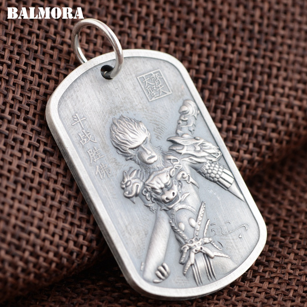 BALMORA 999 Pure Silver Monkey King & Buddha Pendants for Women Men Thai Silver Buddhistic Jewelry Without a Chain SY12947 men without women