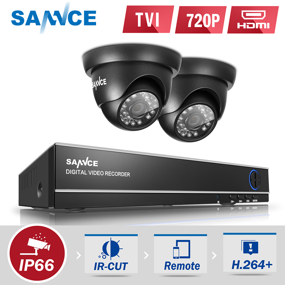 SANNCE 4CH 720P CCTV DVR 1200TVL Outdoor IR Night Home Security Camera System 4CH 720P CCTV Surveillance kit 1TB HDD Optional стоимость