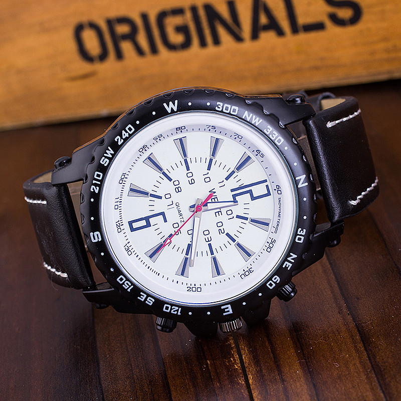 quick quartz rosivga leather watch men view wrist index watches weite