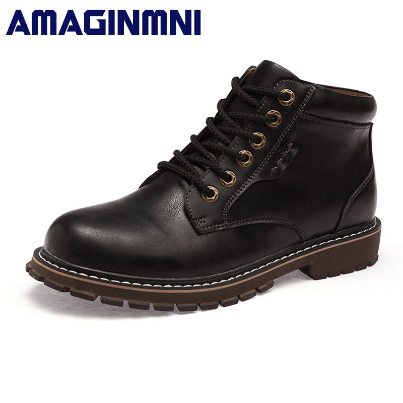 AMAGINMNI Winter Men Boots High Quality Male Genuine Leather Boots Work & Safety Boots Fashion Winter Genuine Leather Work Shoes amaginmni men genuine leather casual shoes leather brand men shoes work safety boots designer men flats men work