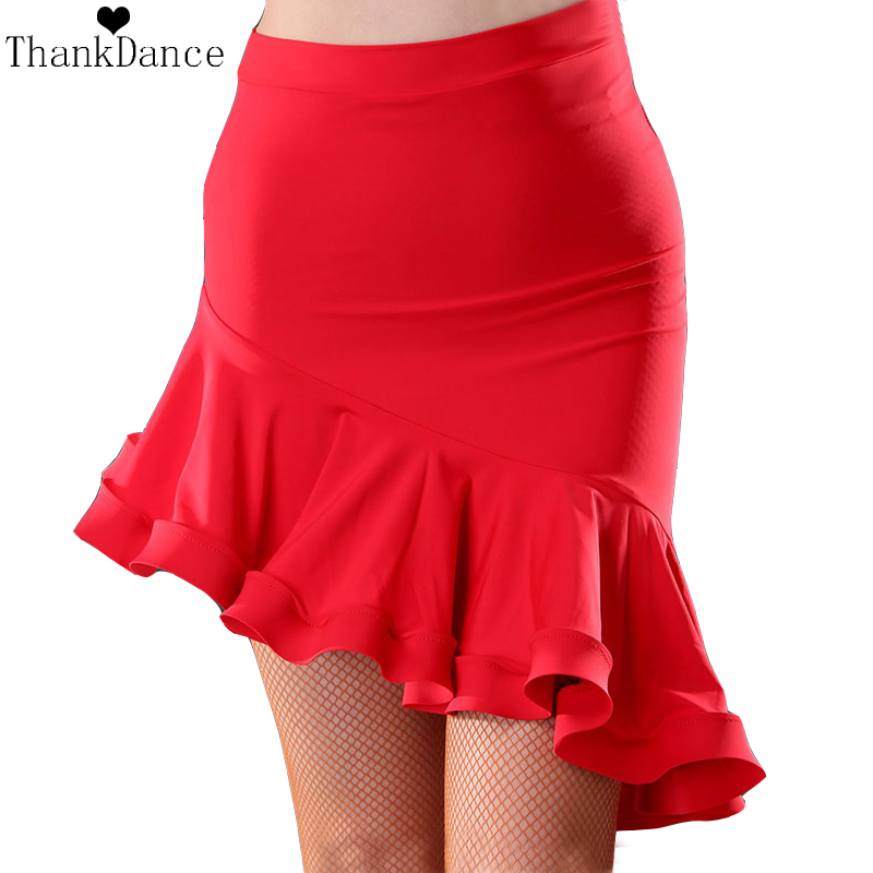 Irregular Latin Dance Skirt Women Latin Costume Red Black Latin Skirt Samba Tango Irregular Dancing Dresses For Practice