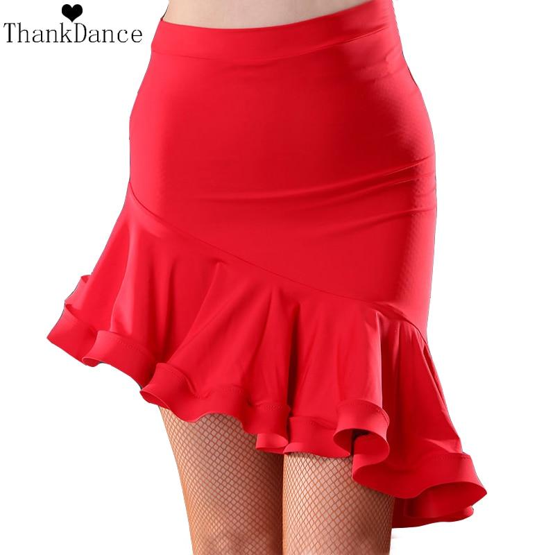 Irregular Latin Dance Skirt Women Latin Costume Red Black Latin Skirt Samba Tango Irregular Dancing Dresses For Practice
