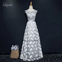 Liyuke Leaf Shape Pattern A Line Evening Dress Regular Sleeve Custom Made Floor Length Formal Dress