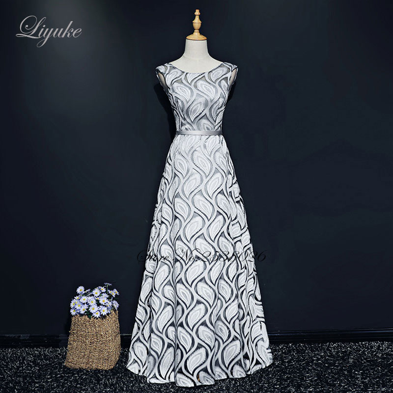 Liyuke Leaf Shape Pattern A-Line   Evening     Dress   Regular Sleeve Custom Made Floor-Length Formal   Dress   Party   Dress