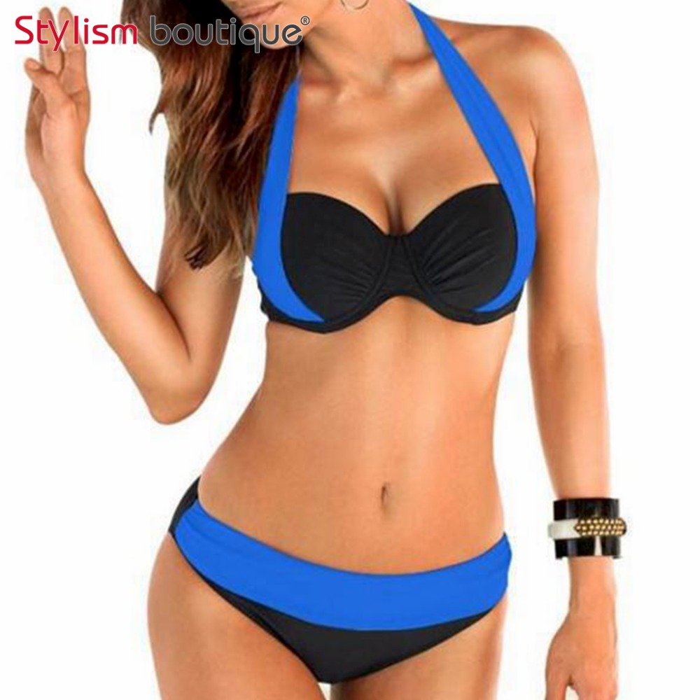 <font><b>2017</b></font> <font><b>New</b></font> <font><b>Sexy</b></font> <font><b>Bikinis</b></font> Contrast Color Patchwork <font><b>Women</b></font> <font><b>Swimsuit</b></font> Ruched Bathing Suit Halter Push Up <font><b>Bikini</b></font> Set <font><b>High</b></font> <font><b>Waist</b></font> Swimwear image