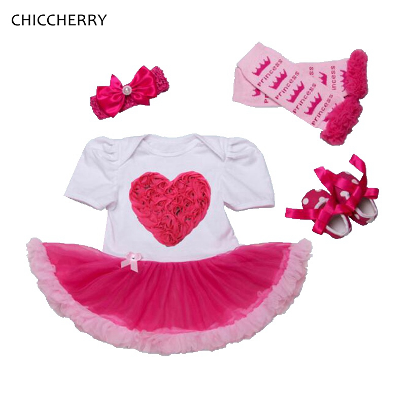 Hot Pink 3D LOVE Baby Girls Valentines Day Outfit Toddler Lace Romper Dress Headband Crib Shoes Leg Warmers Newborn Tutu Sets