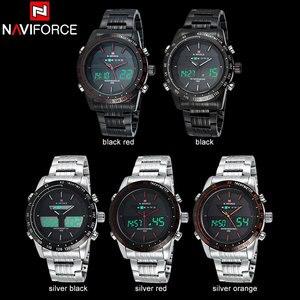 Image 4 - NAVIFORCE üst marka erkek spor İzle erkekler paslanmaz çelik Analog dijital LED saatler reçel tanga saat Relogio Masculino