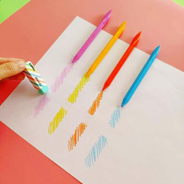 Mini pastel set with Eraser 12 color art crayon pen for kids drawing painting Erasable Triangle pencil Stationery A6654 1