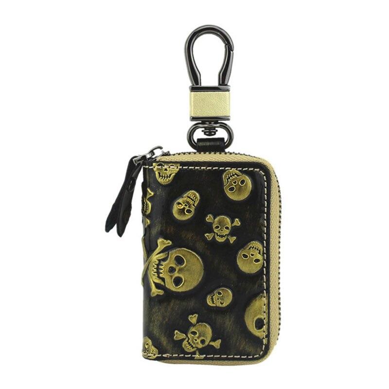 Yesello Leather Car Key Bag Fashion Skull Pattern Leather Car Key Chain Zipper Key Case костюм key fashion