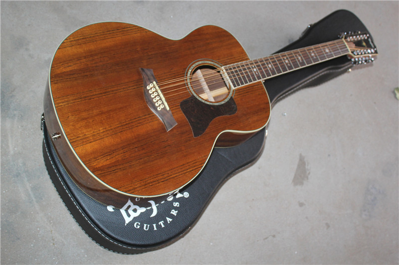 Livraison gratuite de nouvelles photos réelles personnalisées guitare acoustique-électrique de haute qualité, 12 cordes avec micros fishman 10yue k55e avec étui