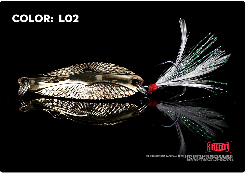 Kingdom Metal Lure Spinner Spoon Fishing Lures Hard Baits 1PC Full Aqueous Layer Metal Material With Feather Hook Fishing Tackle (12)