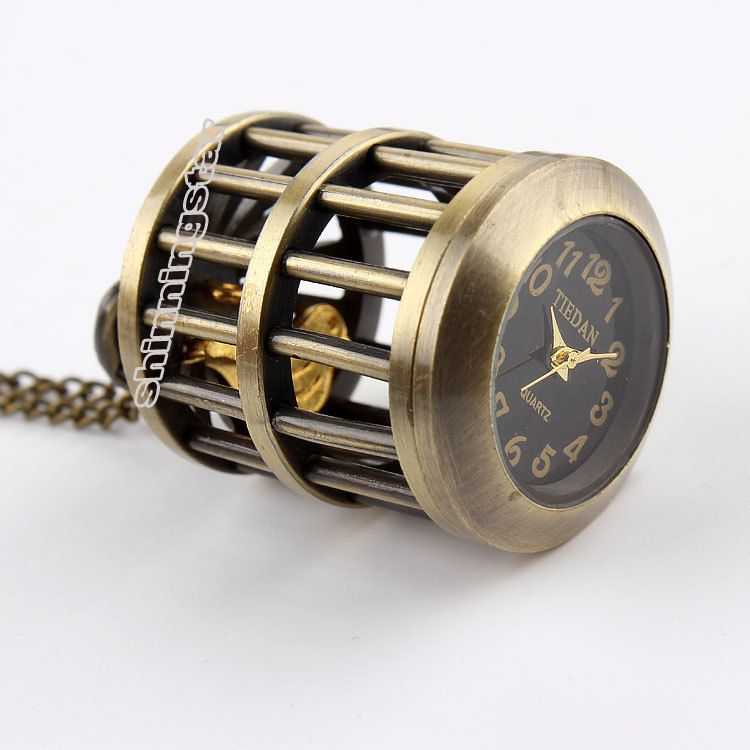 Coupon Wholesale Buyer Price Good Quality Girl Lady Women Bronze Bird Cage Birdcage Pocket Watch Necklace & Pendants Chain Hour