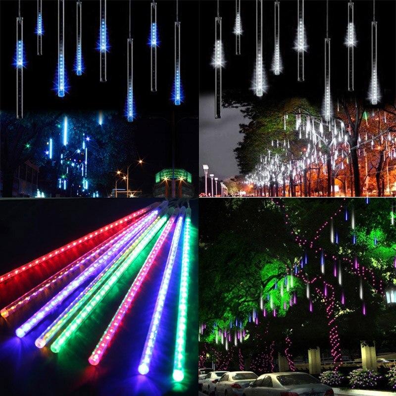 Image 5 - 30CM 50CM Meteor Shower Rain Christmas Tree Fairy Light 8 Tubes Outdoor Garden Patio Icicle Raindrop Snow Falling Light-in Holiday Lighting from Lights & Lighting on