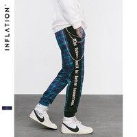 INFLATION Street New 2018 Autumn New Sweatpants Men Women Casual Pants Drawstring Waist Skinny Pants Men Plaid Trousers 8842W