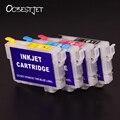 Ocbestjet t1331-t1334 recarregáveis cartucho de tinta para impressora epson stylus t22 tx120 tx420w nx420 workforce 320 impressora com chip de permanente