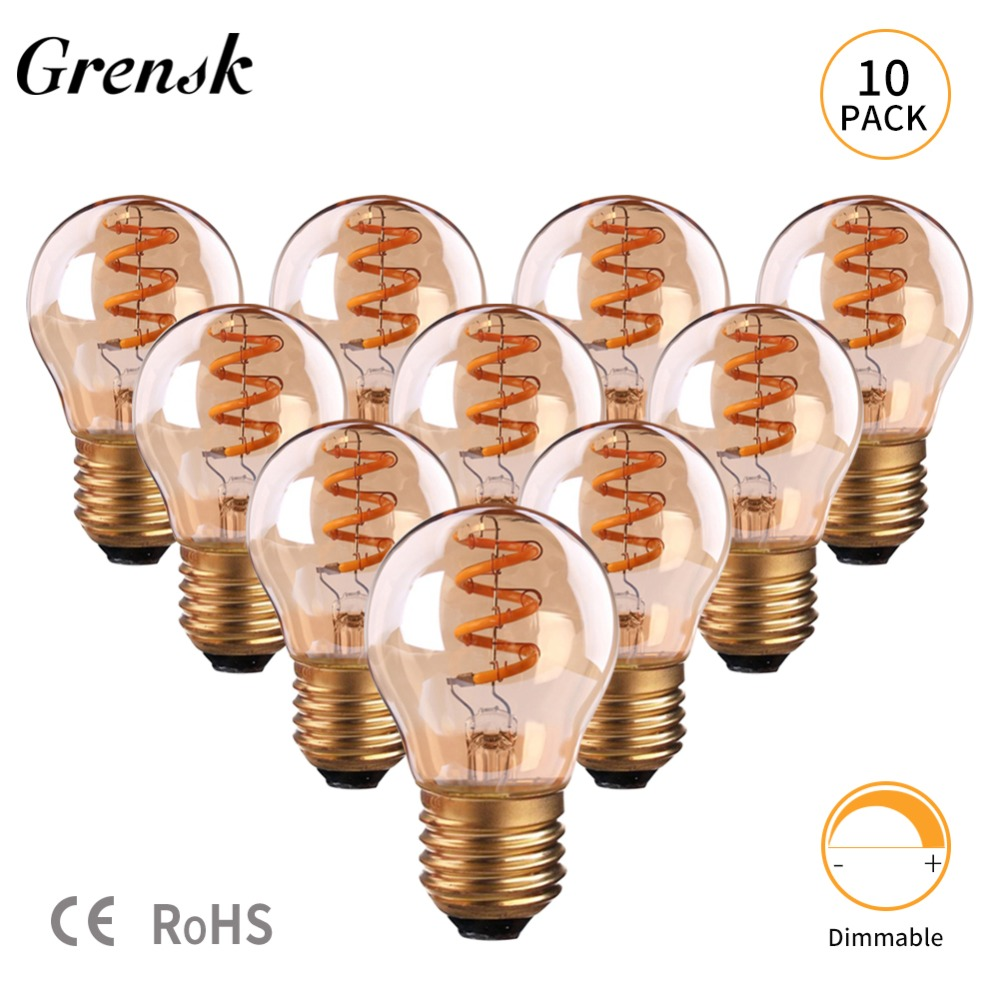 Grensk Led E27 Glass Spiral G45 Globe Filament Light Bulbs Antique Edison Bulb 3W Amber Light