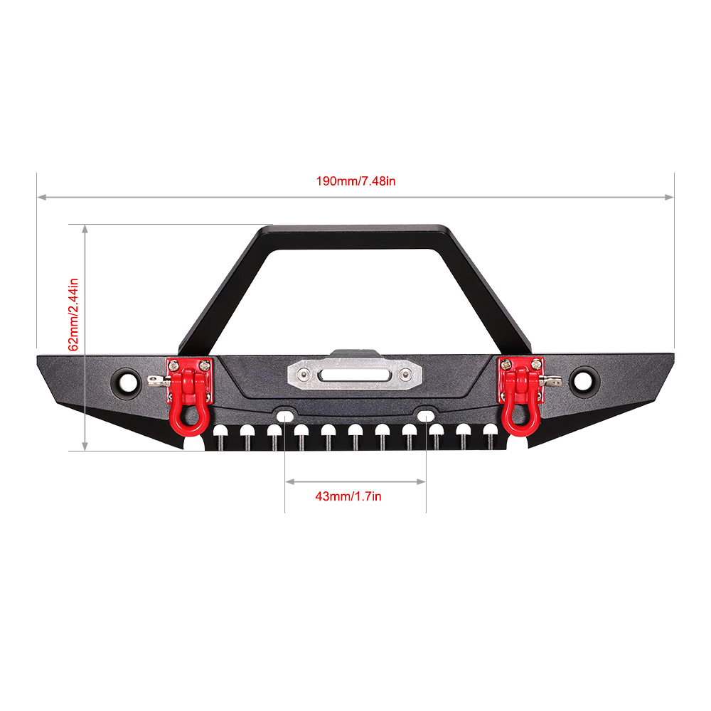 RCaidong 1/10 Front Bumper Bull Bar con LED Faros Winch Mount Seat - Juguetes con control remoto - foto 2
