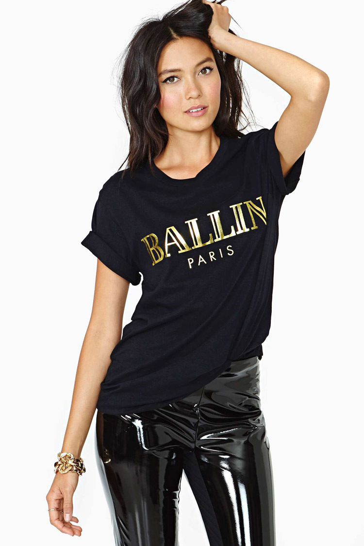 Black t shirt rolled up sleeves - Xs Xxl Women Ballin Gilt Letters Printed Black Round Neck Short Sleeve T Shirt Rolled Up Sleeves Cotton Shirt Haoduoyi In T Shirts From Women S Clothing