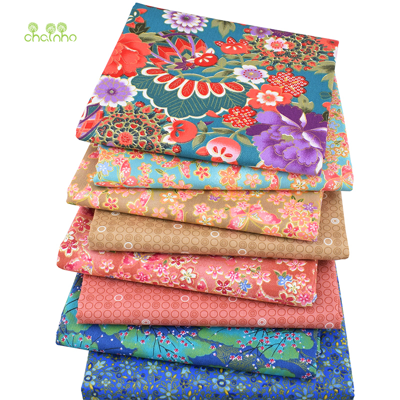 8pcs / lot, Twill Cotton Fabric Patchwork Bronzing Tissue Cloth Fet Quarter Bundle Of Handmade DIY Quilting Sying Tekstilmateriale