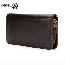 IMRELAX Genuine Leather Men Wallets Double Zipper Man Wallet Men Purse Fashion Male Long Phone Wallet Man's Clutch Bags