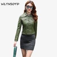 2017 Autumn Winter New Women Short Slim Fashion Large Size Coat Female Lapel Solid Button Leather