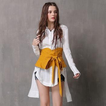 d6a7ab5f012 Cinturones de mezclilla de moda para mujeres faja de cintura alta cinturón  ancho nudo vestido corsé Pin hebilla camisa cintura sello para mujer