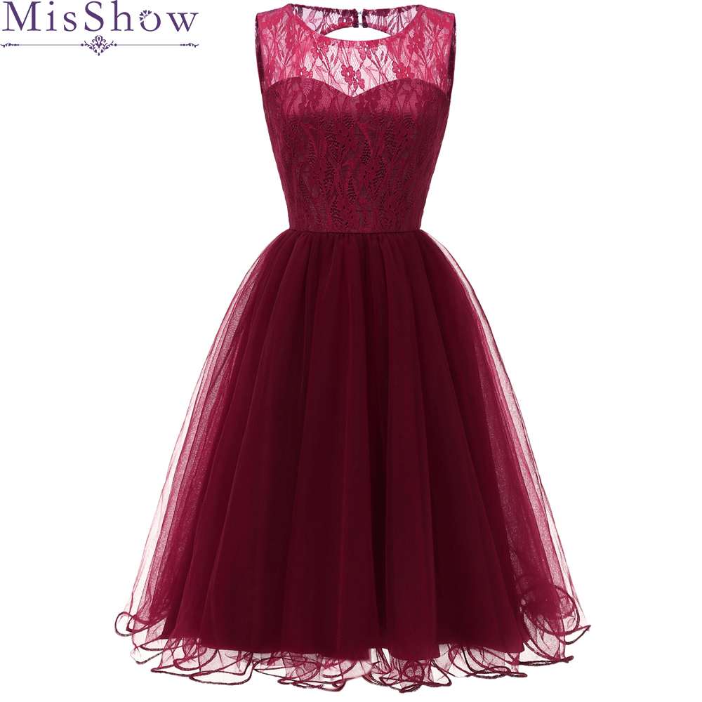 Burgundy Backless Lace A-Line   Cocktail     Dresses   2019 Elegant Cut-Out Summer Women Vestidos O-Neck Sexy Women   Cocktail     Dresses