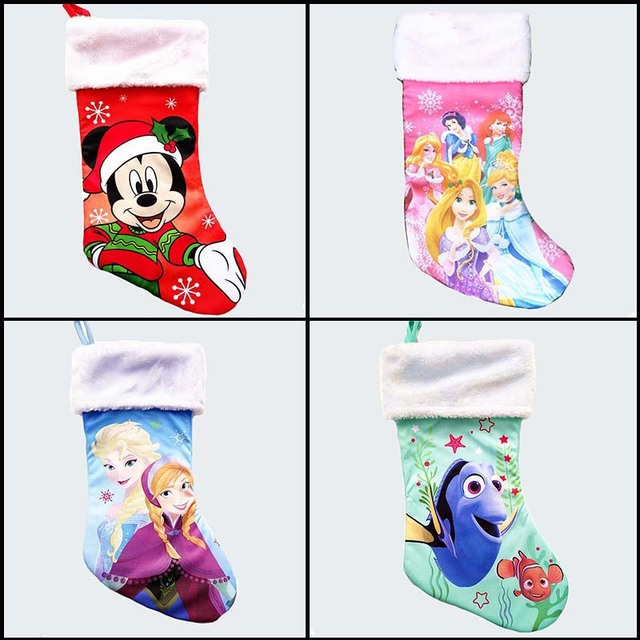41cm/16 inch Plush stain large christmas stockings minnie mouse anna elsa nemo kid xmas stocking children candy bags