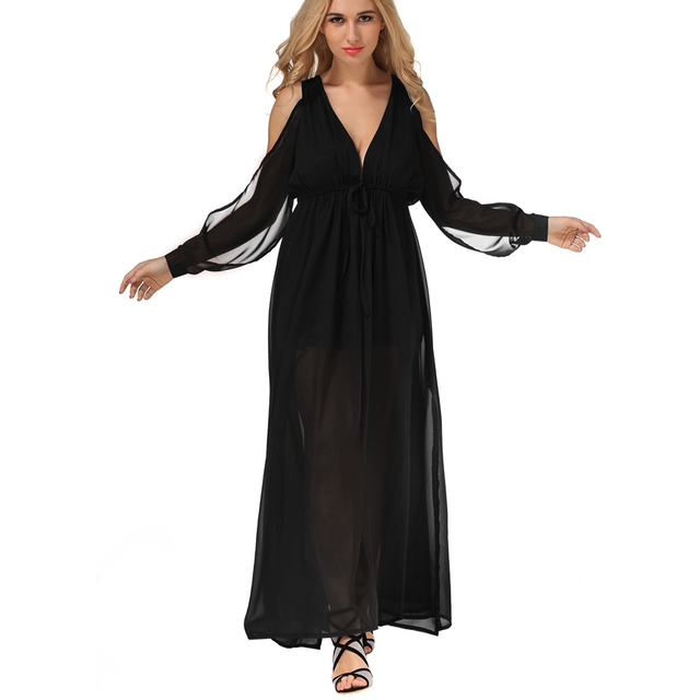 2017 New Womens Summer Maxi Dress Ladies Fashion Floor Length Solid Dinner Sexy Dress V Neck long-sleeved Shrink waist Dress