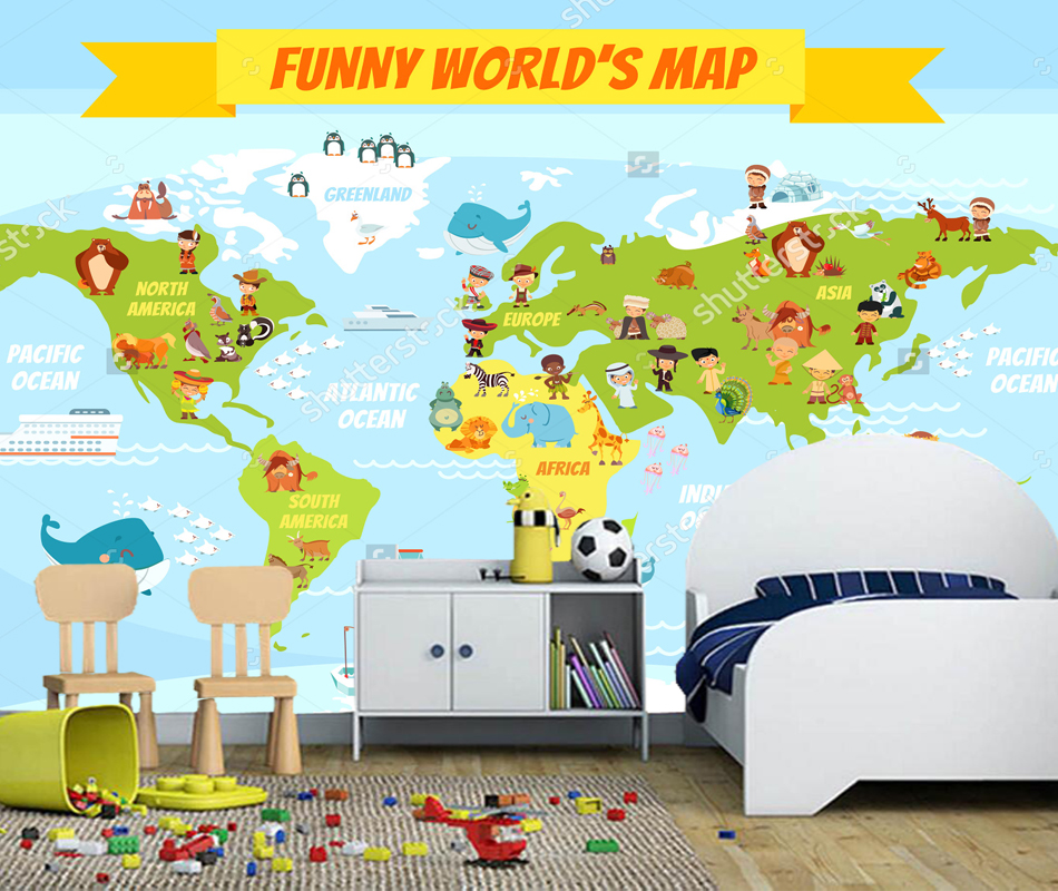 Children's wallpaper, Funny cartoon world map with people of various nationalities and animals for boys and girls room bedroom olga kholodova funny little animals for friends and girlfriends