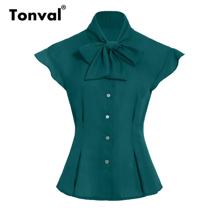 Tonval Bow Tie Neck Tunic Chiffon Vintage Blouse Women Tops 2019 Cap Sleeve Office Blouses Green Summer Shirt Top