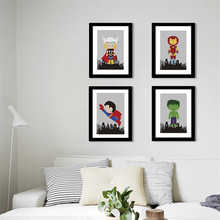 Cartoon super hero Painting Nursery Kids Room quality Home Decor Art Decor posters wall art canvas painting No Frame E196(China)