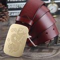Genuine Leather Chinese Dragon Brass Belt Buckle Mens Belts Luxury Men Belt Ceinture Homme Cinturones hombre Jeans Belt MBT0260