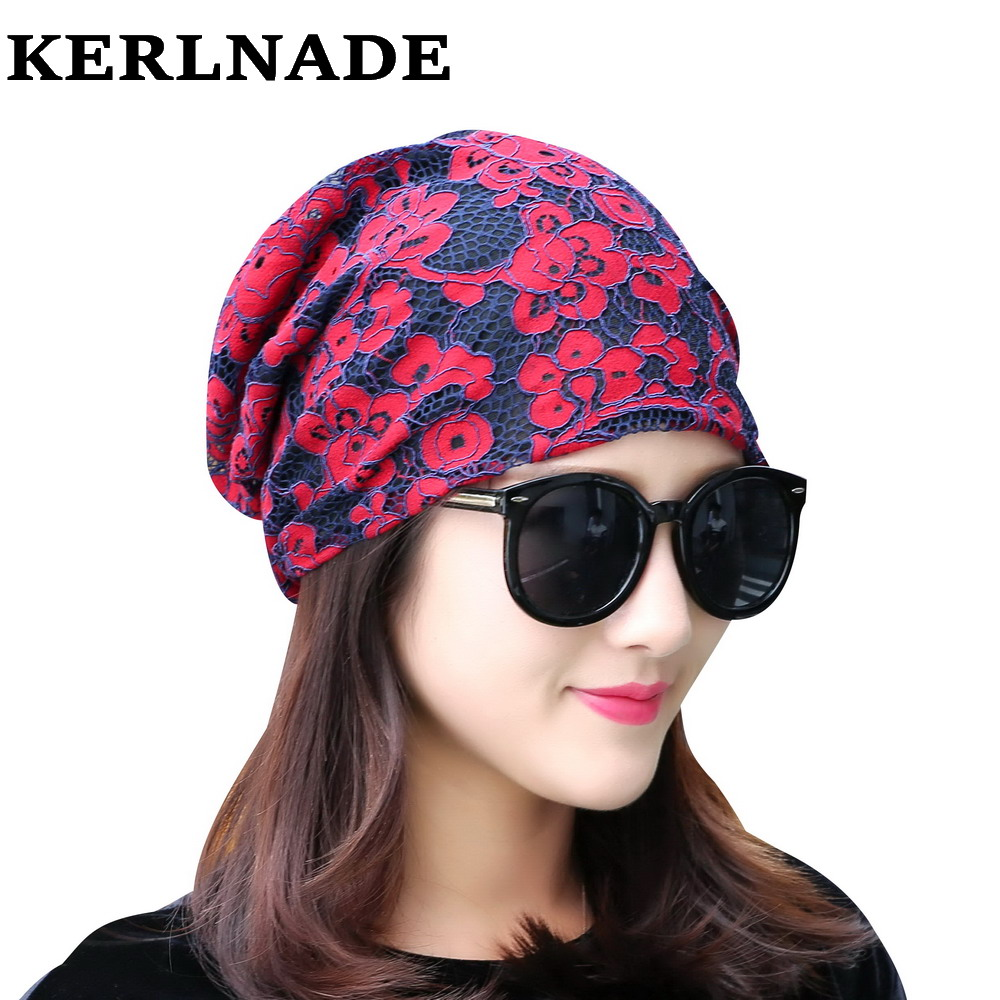 girl women brand beanies hat designer lace rhinestone floral style luxury skullies spring summer autumn winter hats for woman 2017 new lace beanies hats for women skullies baggy cap autumn winter russia designer skullies