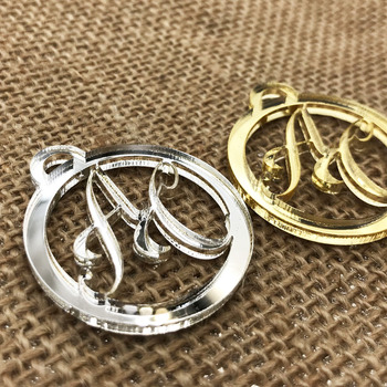 50 pcs Personalized custom  wedding name and Initials tags Mirror silver and golden  Wedding Gift Wedding Table Decoration 1